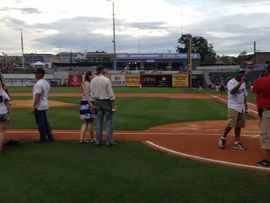 Daddy....throwing out the 1st pitch at the Baron's game