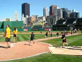 Caileigh & Syd run the bases at PNC Park