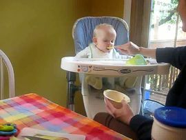 Keira enjoying Great Grandma's soup!