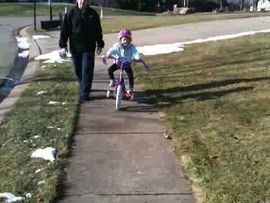 Caileigh's first ride on her new bike!