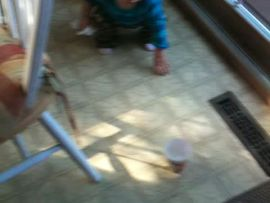 Keira wiping the floor...