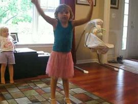 While Keira gets her shoes, Caileigh cheers!